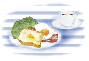 洋風の朝食の風景 水彩イラストのイラスト素材 [FYI04769360]