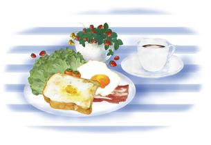 洋風の朝食の風景 水彩イラストのイラスト素材 [FYI04769361]
