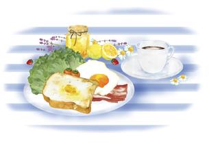 洋風の朝食の風景 水彩イラストのイラスト素材 [FYI04769362]