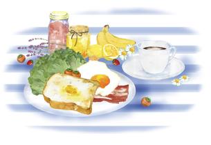 洋風の朝食の風景 水彩イラストのイラスト素材 [FYI04769363]
