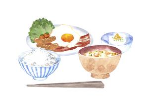 和風の朝食セット 水彩イラストのイラスト素材 [FYI04769365]