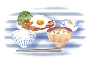 和食の朝食セット 水彩イラストのイラスト素材 [FYI04769366]