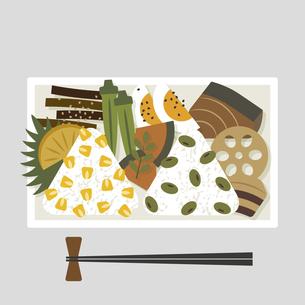 ブリの照り焼きと角煮のおにぎり弁当のイラスト素材 [FYI04769520]