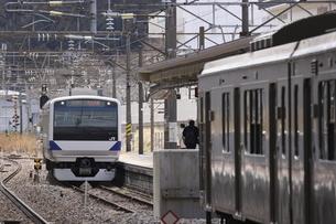 東北本線 新白河駅での列車接続の写真素材 [FYI04769609]