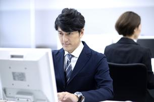 オフィスで仕事をするビジネスマンの写真素材 [FYI04769695]