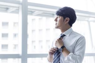 ネクタイを締めるビジネスマンの写真素材 [FYI04769765]