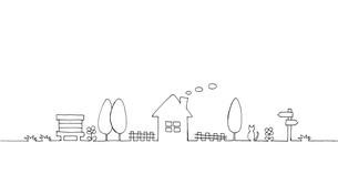 田舎の風景の手描き線画イラストのイラスト素材 [FYI04769790]