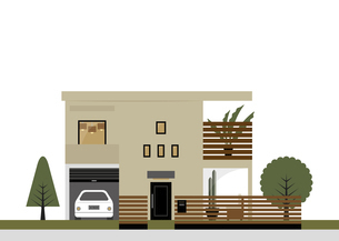 落ち着いた色の大きめの家 イラストのイラスト素材 [FYI04769797]