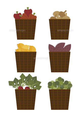 籠に入った野菜と果物 イラストのイラスト素材 [FYI04769816]