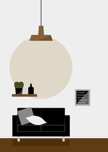 天井の高い部屋と黒いソファー イラストのイラスト素材 [FYI04769838]