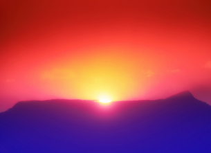 半過岩鼻から望む荒船山から昇る初日の出の写真素材 [FYI04769902]