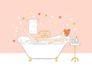 バスタブと女性お風呂1のイラスト素材 [FYI04770174]