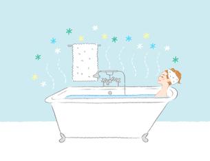 バスタブと女性お風呂2のイラスト素材 [FYI04770175]