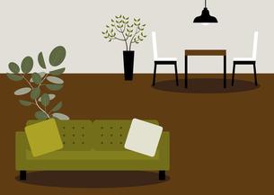 緑のソファーとダイニングルームのイラスト素材 [FYI04770524]