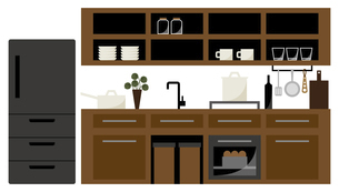 システムキッチンと冷蔵庫 イラストのイラスト素材 [FYI04770547]