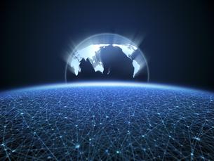 無限に広がるネットワーク空間に浮かぶ世界地図のイラスト素材 [FYI04770593]