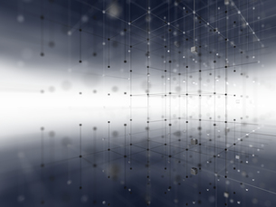 立体的なネットワーク空間のイラスト素材 [FYI04770602]