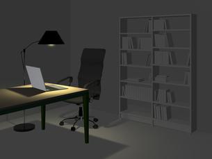 薄暗い一室でリモートワークのイラスト素材 [FYI04770613]
