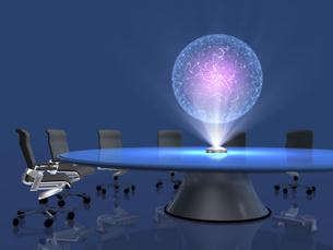 会議テーブル上のホログラムで地球儀を投影するのイラスト素材 [FYI04770614]