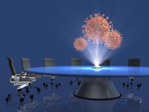 会議テーブル上のホログラムでコロナウイルスを投影するのイラスト素材 [FYI04770617]