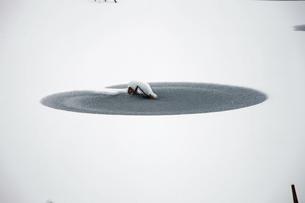 (壁紙用)雪と氷がつくる模様 -裏磐梯の蓮華沼-の写真素材 [FYI04770871]