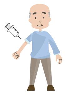 注射をうける高齢者のイラスト素材 [FYI04771026]