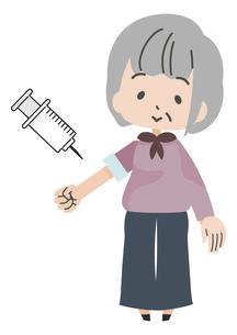 注射をうける高齢者のイラスト素材 [FYI04771027]