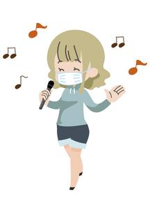 マスクをして歌う人のイラスト素材 [FYI04771049]