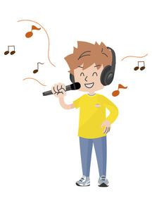 ヘッドホンを付け歌う人のイラスト素材 [FYI04771056]
