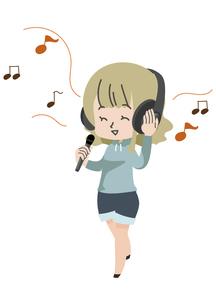 ヘッドホンを付け歌う人のイラスト素材 [FYI04771057]