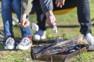 マシュマロを焼く男女の手元の写真素材 [FYI04771351]
