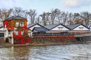 川沿いに見る山居倉庫風景の写真素材 [FYI04771539]