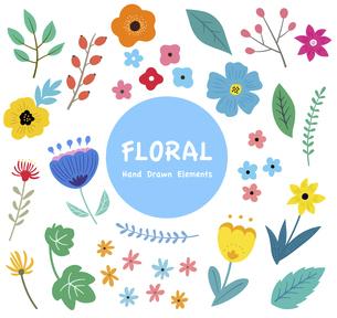 花と葉っぱのイラストセット 春の植物による手描きテイストのイラスト素材 [FYI04771543]