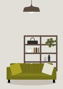 緑のソファーと棚 イラストのイラスト素材 [FYI04771597]