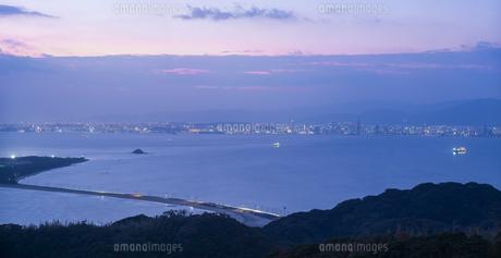 福岡県 風景 博多湾朝景 百道浜方面遠望の写真素材 [FYI04771816]