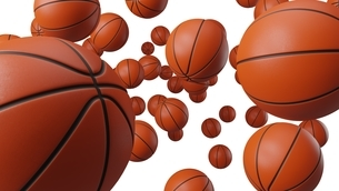Many basketball balls on white background.のイラスト素材 [FYI04771983]