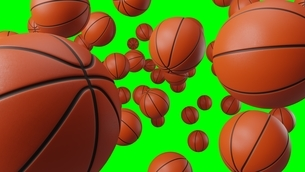 Many basketball balls on green chroma key.のイラスト素材 [FYI04771987]