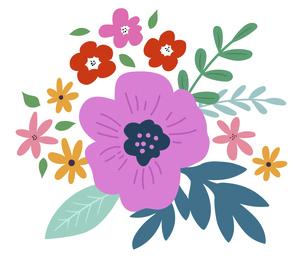 花と葉の飾り 花束のイラスト素材 [FYI04772006]