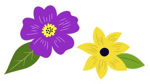 花と葉のアイコンによるイラストセットのイラスト素材 [FYI04772008]