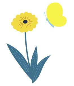 春の黄色い花と蝶のイラスト素材 [FYI04772009]