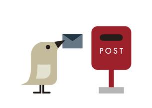 小鳥が手紙をポストに投函しようとしているところ イラストのイラスト素材 [FYI04772050]