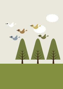 鳥 樹木 芝生 イラストのイラスト素材 [FYI04772057]