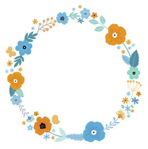 花と葉の花輪フレーム 手描きテイストのイラスト素材 [FYI04772146]