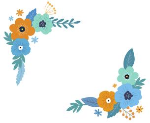 花と葉の装飾フレームセット 手描きテイストのイラスト素材 [FYI04772147]