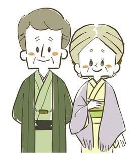 着物の夫婦-シニア-男女のイラスト素材 [FYI04772291]
