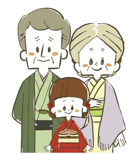 着物の家族-祖父母と孫のイラスト素材 [FYI04772295]