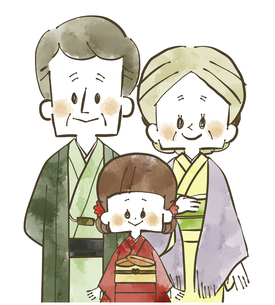 着物の家族-祖父母と孫-水彩のイラスト素材 [FYI04772296]