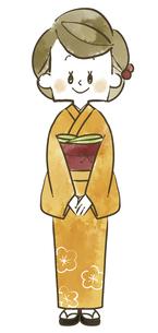 着物の女性-全身-水彩のイラスト素材 [FYI04772310]