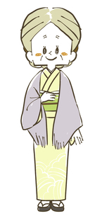 着物の年配女性-全身のイラスト素材 [FYI04772313]