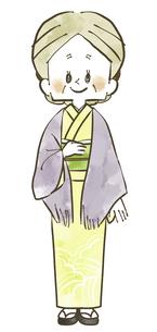 着物の年配女性-全身-水彩のイラスト素材 [FYI04772314]